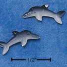 STERLING SILVER DARK BLACK & GRAY DOLPHIN MINI-POST EARRINGS  (ep555)