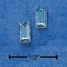 STERLING SILVER EMERALD CUT MARCH BIRTHSTONE AUSTRIAN CRYSTAL POST EARRINGS  (ep542)