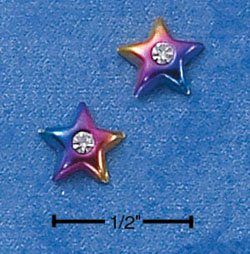STERLING SILVER MULTI-COLOR ENAMELED STAR W/ CZ MINI-POST EARRINGS  (ep539)