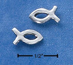 STERLING SILVER LIFE FISH POST EARRINGS  (ep537)