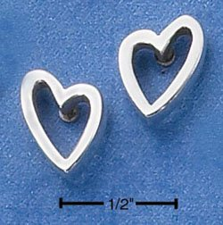 STERLING SILVER LOPSIDED HEART POST EARRINGS  (ep535)