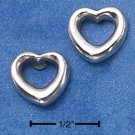 STERLING SILVER SIMPLE OPEN HEART POST EARRINGS  (ep534)