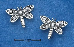 STERLING SILVER DRAGONFLY W/ CUBIC ZIRCONIAS POST EARRINGS  (ep532)