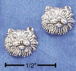 STERLING SILVER CAT FACE POST EARRINGS  (ep513)