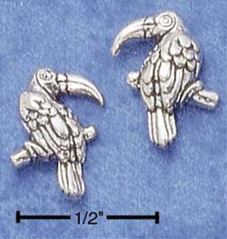 STERLING SILVER TOUCAN POST EARRINGS (LEFT & RIGHT)  (ep510)