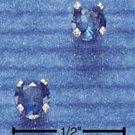 STERLING SILVER 4MM SEPTEMBER CZ POST EARRINGS (DARK BLUE)  (ep265)