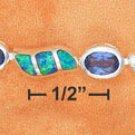"""STERLING SILVER JEWELRY 7"""" ALT SYN TANZANITE OVAL & SYN BLUE OPAL SWOOSH LINK BRACELET  (br2672)"""