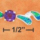 "STERLING SILVER JEWELRY 7"" ALT RND SYN AMETHYST & SYN BLUE OPAL DBL COMMA LINK BRACELET  (br2671)"