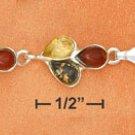 "STERLING SILVER JEWELRY 7.5"" MULTICOLOR AMBER TEARDROP CLUSTERS LINK BRACELET  (br2643)"