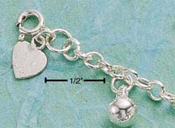 """STERLING SILVER 9"""" HARMONY BALL ANKLET  (br411)"""