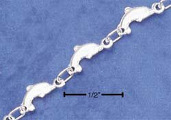 """STERLING SILVER 9"""" CONTINUOUS DOLPHIN ANKLET  (br1923)"""