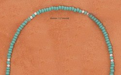 """STERLING SILVER 9"""" SILVER & TURQUOISE COLORED PONY BEAD ANKLET  (br2319)"""