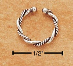STERLING SILVER JEWELRY ANTIQUED PLAIN & COILED TWIST BELLY CLIP  (sc91)