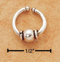 STERLING SILVER JEWELRY BELLY CLIP W/ CENTER BALL  (sc93)