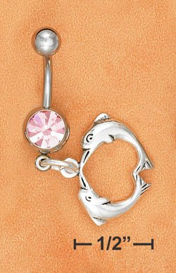 STERLING SILVER JEWELRY BELLY RING W/ PINK ICE GEMSTONE & KISSING DOLPHIN DANGLE  (sc118)