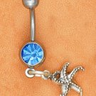 STERLING SILVER JEWELRY BELLY RING W/ SAPPHIRE GEM STONE & STAR FISH DANGLE  (sc119)