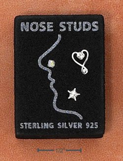 STERLING SILVER JEWELRY NOSE STUDS SET: ROUND, STAR, OPEN HEART (sc114)