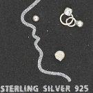 STERLING SILVER JEWELRY NOSE STUD SET W/PLAIN BALL- IRIDESCENT XTL & CLR XTL W/BALL DANGLE (sc124)