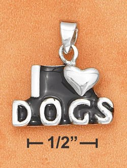 """STERLING SILVER JEWELRY  """"I HEART DOGS"""" PENDANT W/ BLACK ENAMEL FOR YOU OR PET  (ch3266)"""