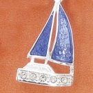 STERLING SILVER JEWELRY BLUE ENAMEL & CZ SAILBOAT CHARM  (ch3052)
