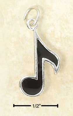 STERLING SILVER JEWELRY ENAMELED MUSIC NOTE CHARM  (ch2974)