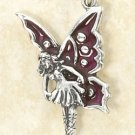 STERLING SILVER JEWELRY ENAMELED FAIRY CHARM  (ch2973)
