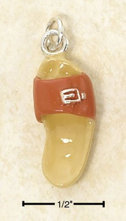 STERLING SILVER JEWELRY ENAMEL ORANGE SANDAL WITH BUCKLE & YELLOW SOLE W/ FOOTPRINT CHARM  (ch2965)