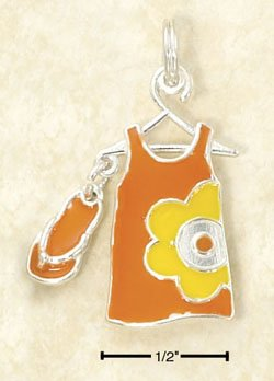STERLING SILVER JEWELRY ORNAGE ENAMEL SUNDRESS & FLIP-FLOP CHARM (ch2963)