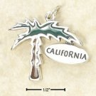 STERLING SILVER JEWELRY ENAMELED PALM TREE CHARM WITH CALIFORNIA TAG  (ch2960)