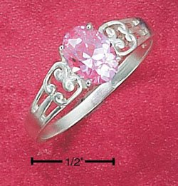 STERLING SILVER JEWELRY OPEN WEAVE PINK ICE RING SIZES 4-9 (cr62)