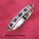 STERLING SILVER JEWELRY CZ & SYNTHETIC AMETHYST FEBRUARY ETERNITY BAND (5-9)  (sr77)