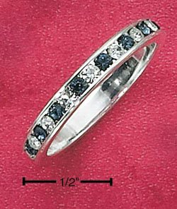 STERLING SILVER JEWELRY CZ & SYNTHETIC SAPPHIRE SEPTEMBER ETERNITY BAND (5-9) (sr84)