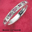 STERLING SILVER JEWELRY CZ & SYNTHETIC PINK TOURMALINE OCTOBER ETERNITY BAND (5-9) (sr86)