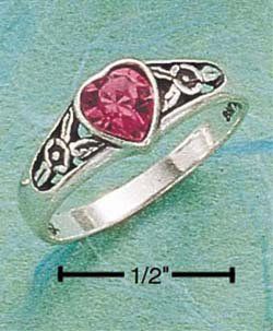 STERLING SILVER JEWELRY HEART RING W/ PINK AUSTRIAN CRYSTAL SIZES 4-9 (cx100)
