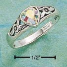 STERLING SILVER JEWELRY HEART RING W/ OPALESCENT AUSTRIAN CRYSTAL SIZES 4-9 (cx101)