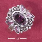 STERLING SILVER JEWELRY MARCASITE WITH OVAL AMETHYST & LAVENDER TEARS CZ RING (msr156)