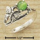 STERLING SILVER JEWELRY ANTIQUED BUTTERFLY W/ ROUND GREEN CAT EYE RING SIZES 5-9 (sr1196)