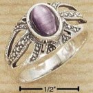 STERLING SILVER JEWELRY ANTIQUED OPEN BURST W/ OVAL PURPLE CAT EYE RING SIZES 5-10  (sr1197)