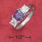 STERLING SILVER JEWELRY 6MM PURPLE CZ W/ 4MM CLEAR CZ THREE STONE RING (sr2757)