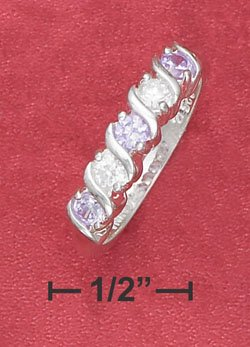 "STERLING SILVER JEWELRY ALTERNATING LAVENDER & WHITE 3MM CZ ""S"" BAND RING  (sr2756)"