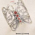 STERLING SILVER JEWELRY EXTRA LARGE FILIGREE BUTTERFLY W/ GARNET BODY SIZES 6-10 (cr205a)