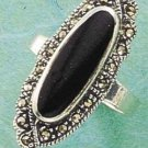 STERLING SILVER JEWELRY MARCASITE ELONGATE OVAL ONYX RING 5-9 (msr8)