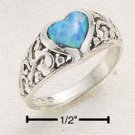 STERLING SILVER JEWELRY RAISED FILIGREE BAND W/ OPAL HEART SIZES 4-8 (sr41)