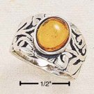 STERLING SILVER JEWELRY ANTIQUED FILIGREE BAND W/ 9X7 OVAL AMBER STONE SIZES 5-9 (cr124)
