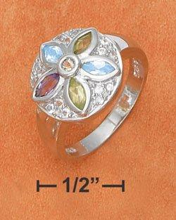 STERLING SILVER JEWELRY LARGE FLOWER W/ AMETHYST, PERIDOT, CITRINE RING (sr2763)