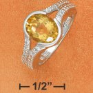 STERLING SILVER JEWELRY RP 10X8MM OVAL CITRINE W/ DIAMOND ACCENT RING (sr2765)