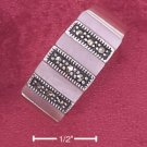 STERLING SILVER JEWELRY MARCASITE & PINK SHELL BARS RING (msr158)