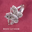STERLING SILVER JEWELRY MARCASITE BUTTERFLY RING WITH SPLIT SHANK (4-8) (msr159)