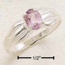 STERLING SILVER JEWELRY PINCHED CHANNEL BAND W/ 5X7 OVAL AMETHYST SIZES 5-9 (cr258)