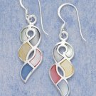 "STERLING SILVER JEWELRY MULTI COLOR MOTHER OF PEARL TWIST FW EARRINGS (APPROX 1.5"")  ( xx4137 )"